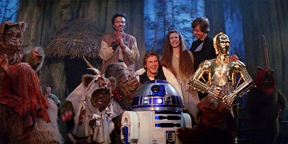 The end scene of Return of the Jedi