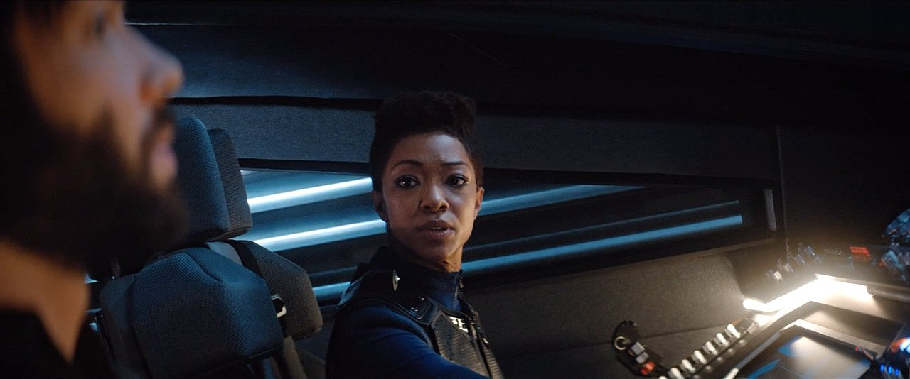 "Spock and Burnham on their way to investigate a Section 31 ship in Star Trek: Discovery Season 2 Episode 12 ""Through the Valley of Shadows"""