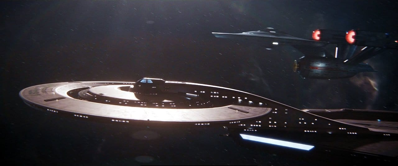 "The Discovery rendezvous with the Enterprise in Star Trek: Discovery Season 2 Episode 12 ""Through the Valley of Shadows"""