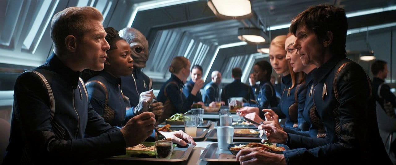 "The crew has some downtime in the mess hall in Star Trek: Discovery Season 2 Episode 12 ""Through the Valley of Shadows"""