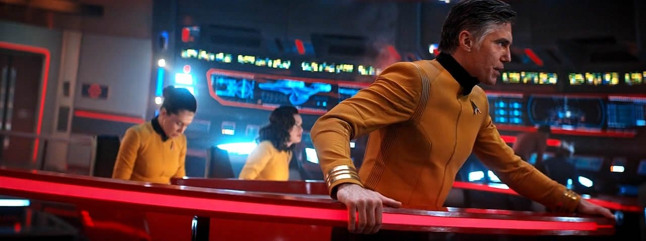 "Captain Pike on the bridge of the Enterprise in the Star Trek: Discovery Season 2 finale ""Such Sweet Sorrow"" Part 2."