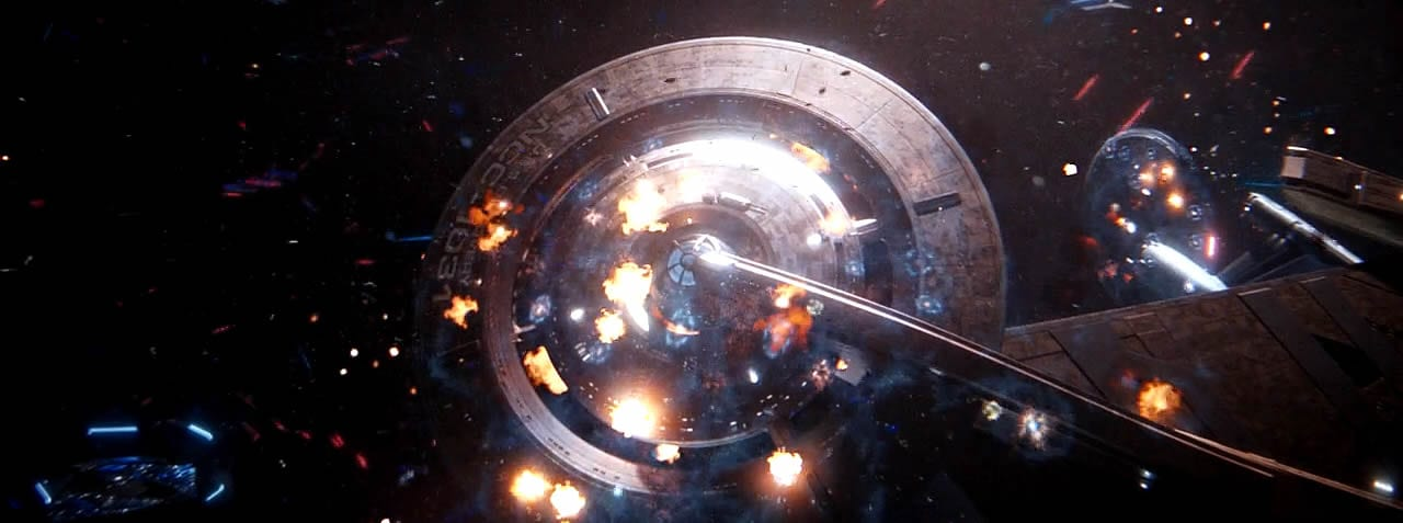 "Discovery and Enterprise under heavy fire from the enemy in the Star Trek: Discovery Season 2 finale ""Such Sweet Sorrow"" Part 2."