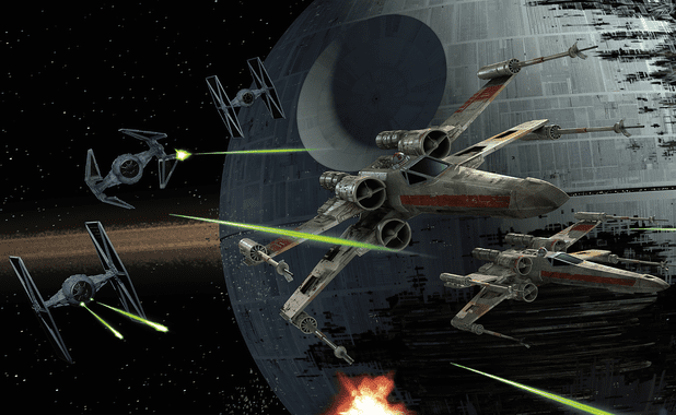X-Wing Fighter plane with TIE fighters