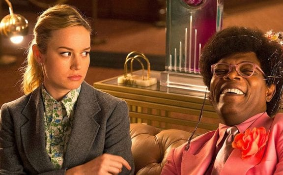 Brie Larson as Kit and Samuel L Jackson as The Salesman in Larson's directorial debut Unicorn Store
