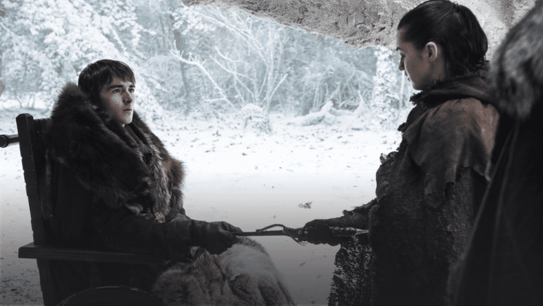 Bran gifts the Valyrian steel dagger to Arya