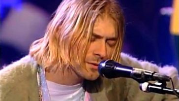 Kurt Cobain plays during Nirvana's MTV Unplugged