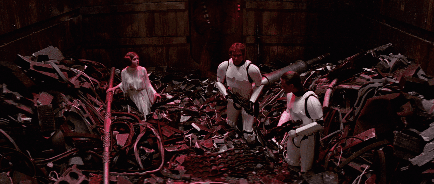 Leia, Luke and Han Solo in the garbage masher