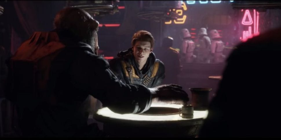Cal Kestis has a drink with his alien pal in Jedi Fallen Order