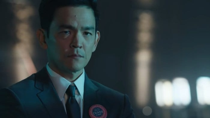 "John Cho as Raff Hanks, campaign manager for 11-year old Presidential Candidate Oliver Foley in The Twilight Zone episode ""The Wunderkind"""
