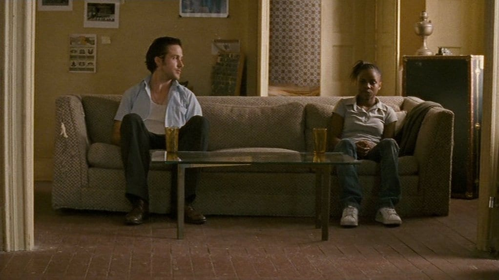 In the film's closing moments, Dan (Ryan Gosling) and Drey (Shareeka Epps) enjoy a moment of contemplation about a more hopeful future.