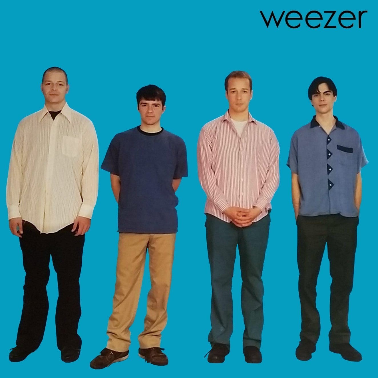 Weezer's first album cover was of the band on a blue background, which started a trend they use for most all their albums.