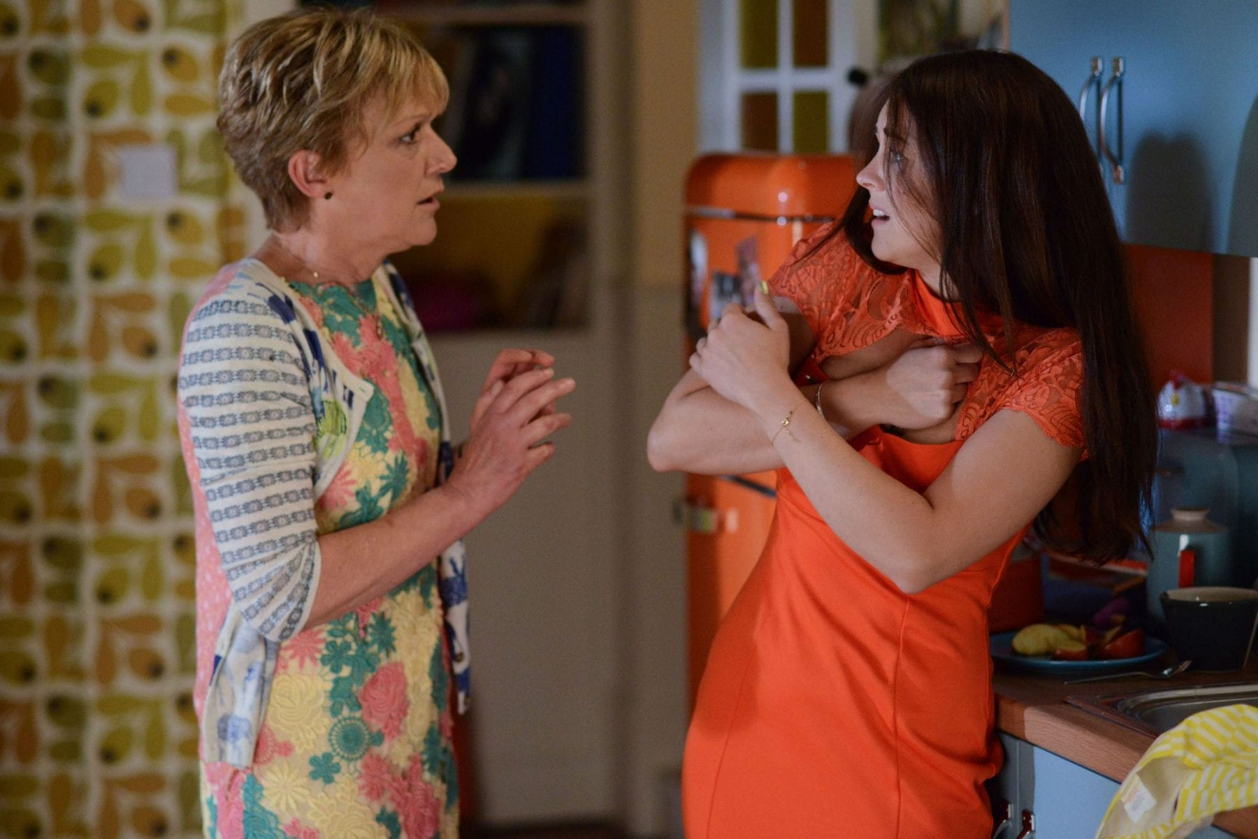 Jean and Stacey Slater in a scene from the UK soap opera Eastenders