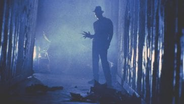 "Freddy Krueger (Robert Englung) in the iconic ""tina dream sequence"" in A Nigtmare on Elm Street."
