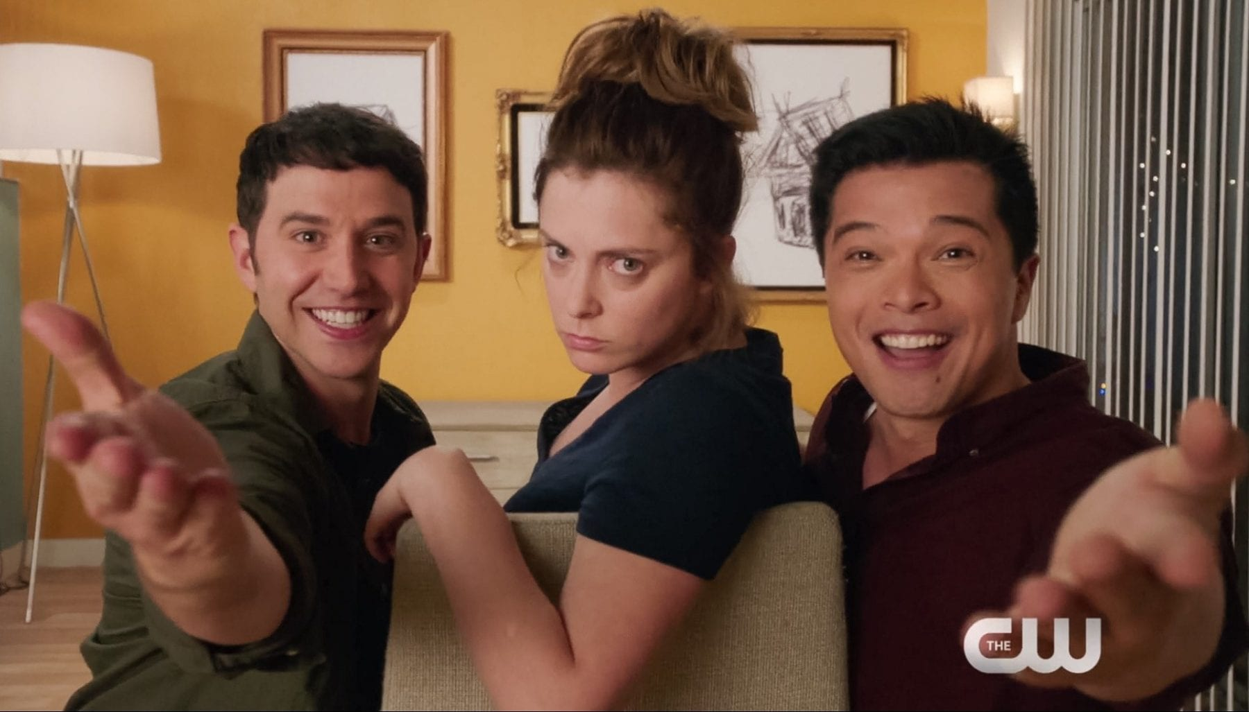 Santino Fontana, Rachel Bloom and Vincent Rodriguez III as Greg, Rebecca and Josh