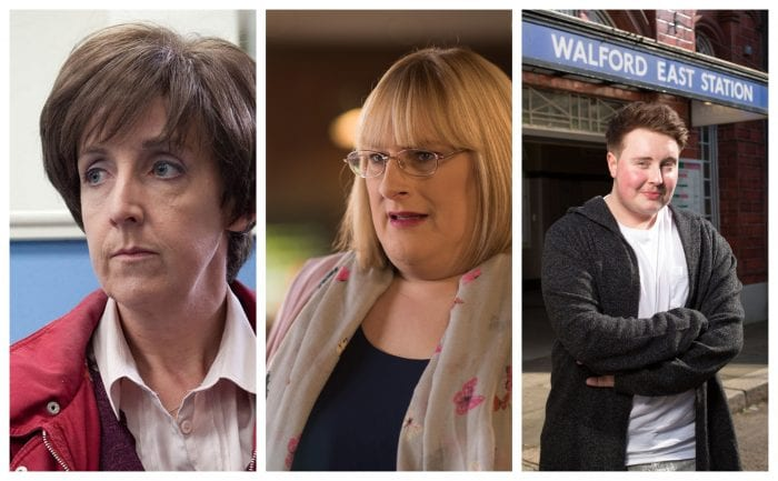 Julie Hesmondhalgh as transsexual character Hayley Cropper, Annie Wallace as Sally St. Claire, and Riley Carter Millington as Kyle Slater.