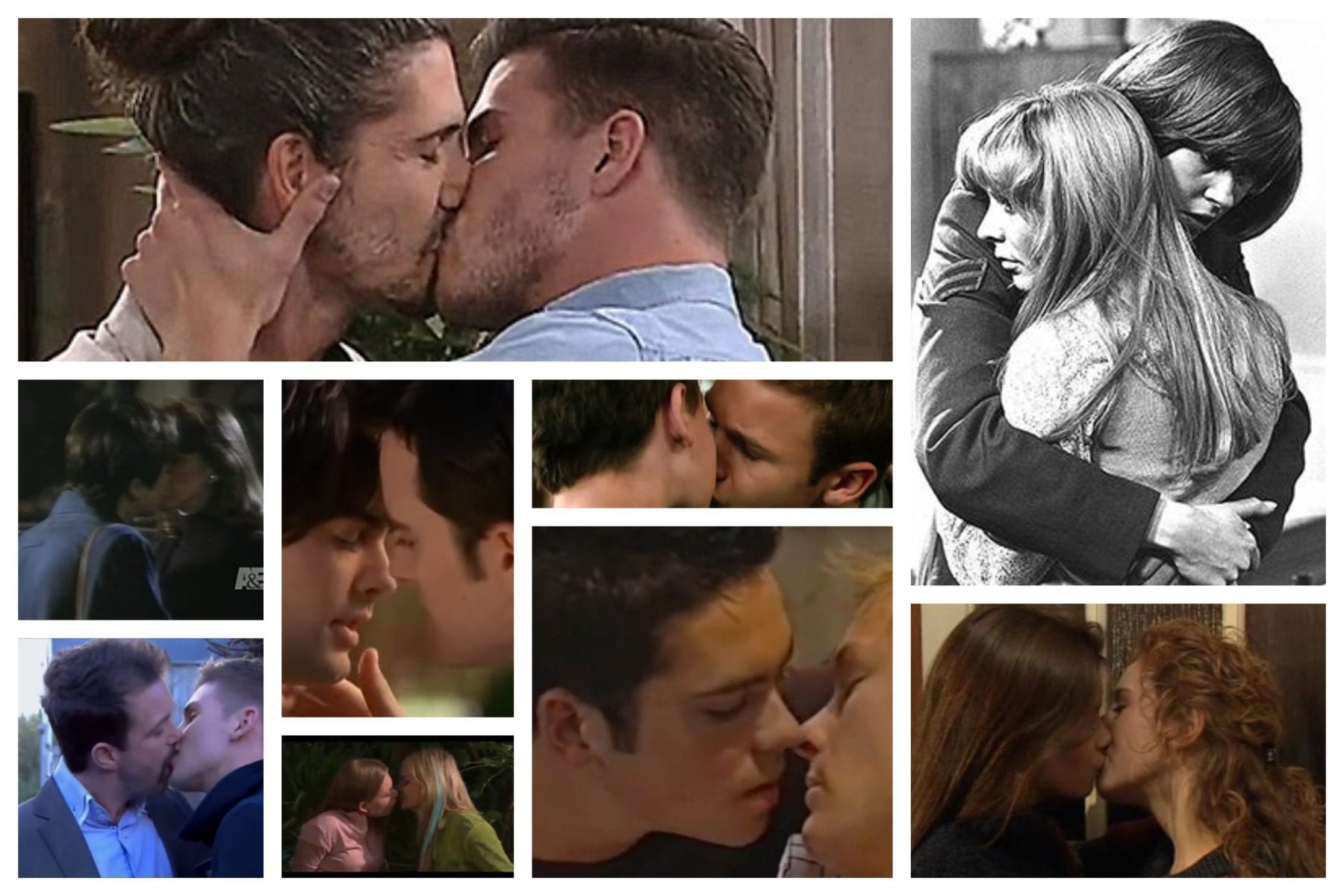 A collection of some of the first gay kisses on TV screens in various countries