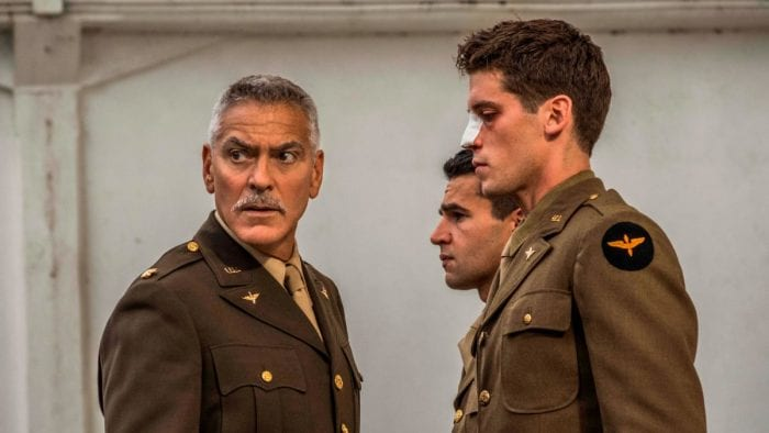 George Clooney, as Scheisskopf, lectures Clevenger and Yossarian in Catch-22
