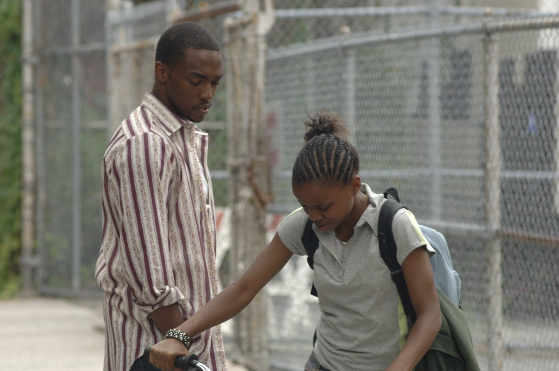 Neighborhood drug dealer Frank (Anthony Mackie) helps Drey (Shreeka Epps) get her stolen bike back.
