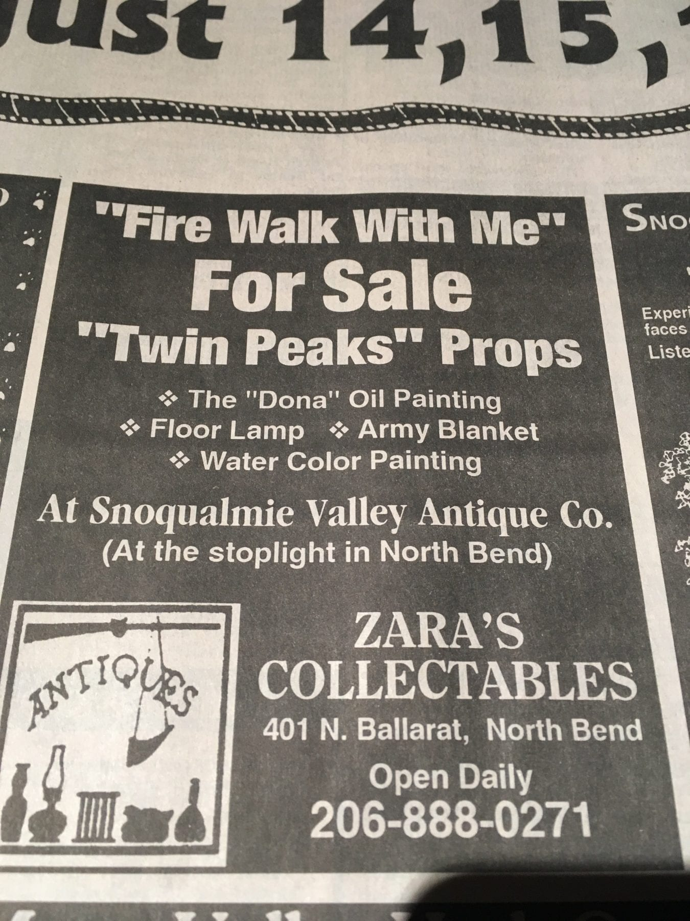 Clipping from Snoqualmie Valley Record, Zara's collectibles North Bend