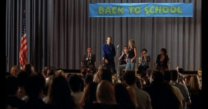 Cliff and Wendy presenting at a high school gathering