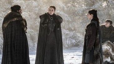 Jon, Sansa, Arya and Bran Stark at Godswood