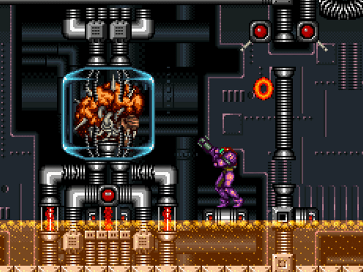 Samus facing Mother Brain in Super Metroid