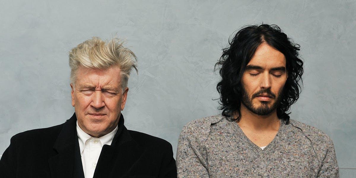 David Lynch and Russell Brand meditating