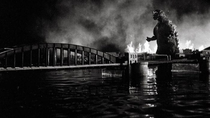 Godzilla stomps through Tokyo in his debut feature Godzilla