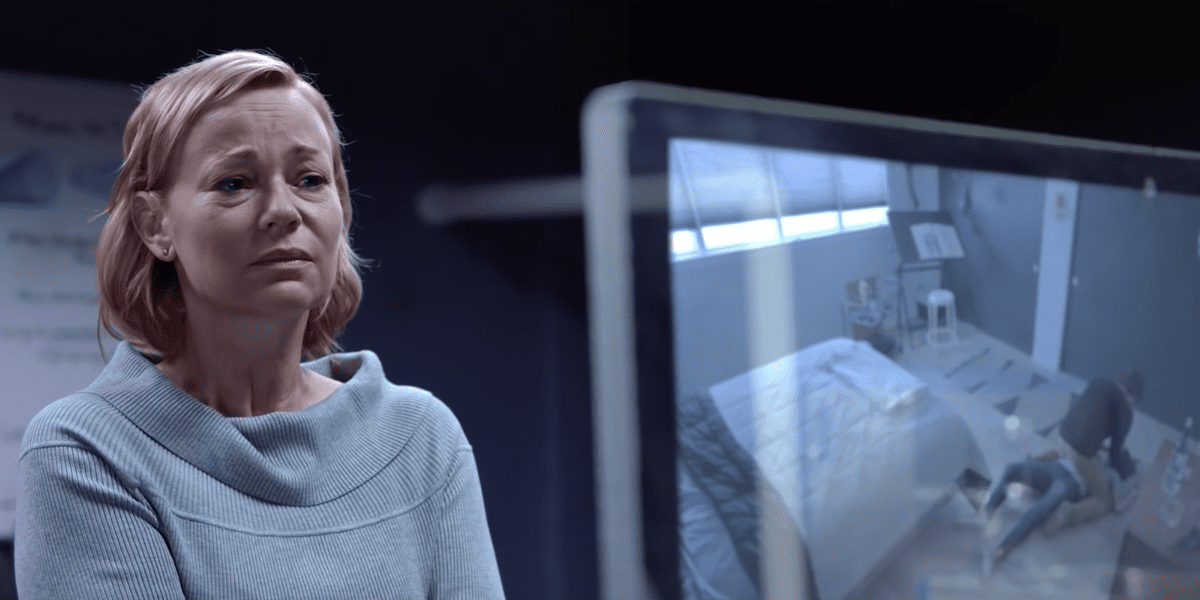 Dr. Katherine Harris (Samantha Mathis) watches in horror as her son Spencer (Israel Broussard) murders another Ashley (Aurora Perrineau) clone in All That We Destroy.