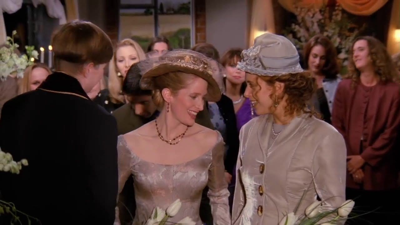 Carol and Susan get married in the Friends episode The One With The Lesbian Wedding