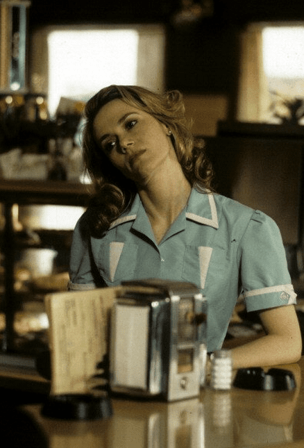 Norma Jennings looking wistful at the Double R Diner Twin Peaks