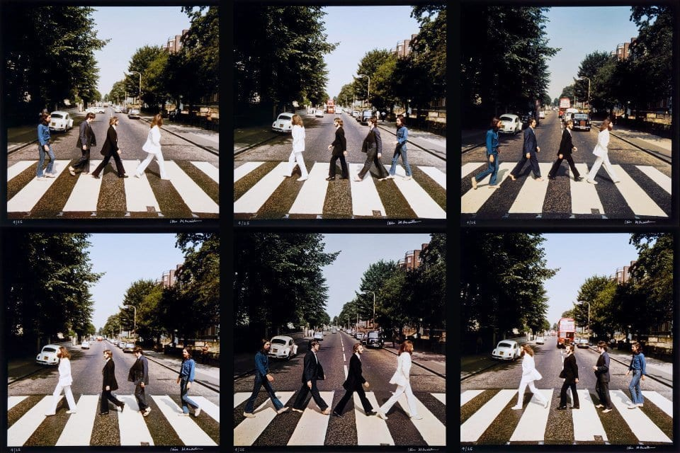 six photos taken on the day the abbey road cover was photographed