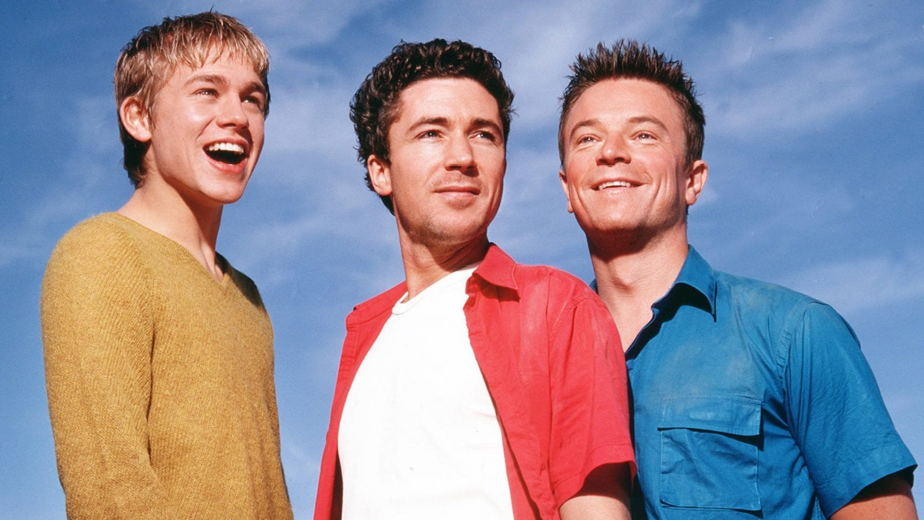 Charlie Hunnam, Aidan Gillen, and Ceaig Kelly as Nathan, Stuart, and Vince in Queer As Folk