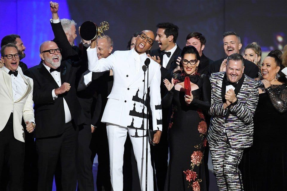RuPaul with the cast and crew of Drag Race after winning an Emmy for the show