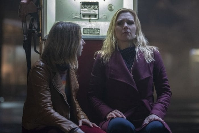 """Taissa Farmiga and Rhea Seehorn as two women on the run from meteorite crazed men in The Twilight Zone """"Not All Men"""""""