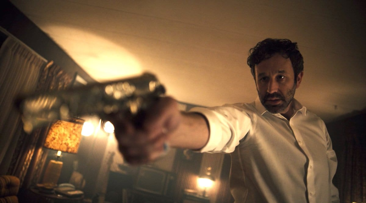 "Chris O'Dowd is the slowly deteriorating Stork in ""The Blue Scorpion"""