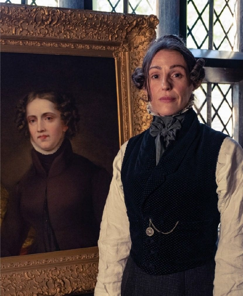 Actress Suranne Jones stands next to Anne Lister, the woman she is portraying in Gentleman Jack.