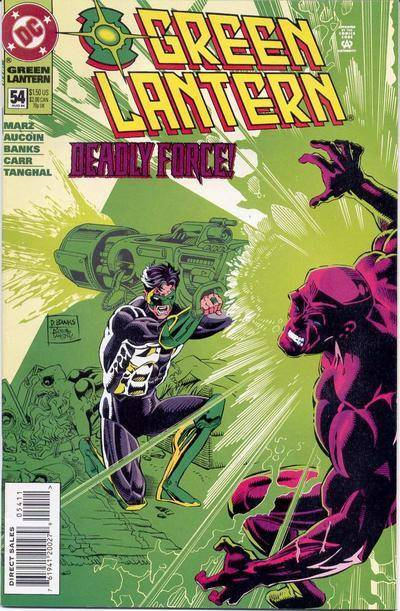 Green Lantern #54 shows Kyle Rayner shooting Major Force with his power ring, and as expected Kyle's dead girlfriend Alex is nowhere to be seen.