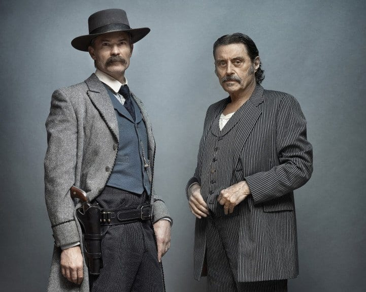 Timothy Olyphant and Ian McShane in Deadwood