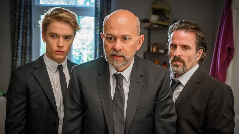 Freddie Fox as Freddie, Vincent Franklin as Henry, and Con O'Neill as Cliff in Cucumber