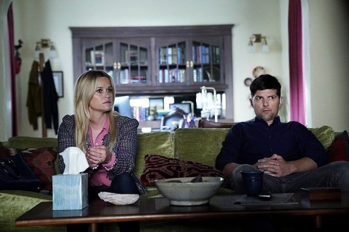 Reese Witherspoon and Adam Scott and Madeline and Ed in a therapy session in Big Little Lies season 2