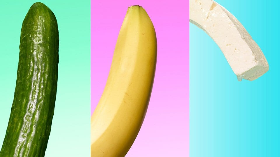 A cucumber, banana, and tofu as symbols used to advertise the channel 4 show.