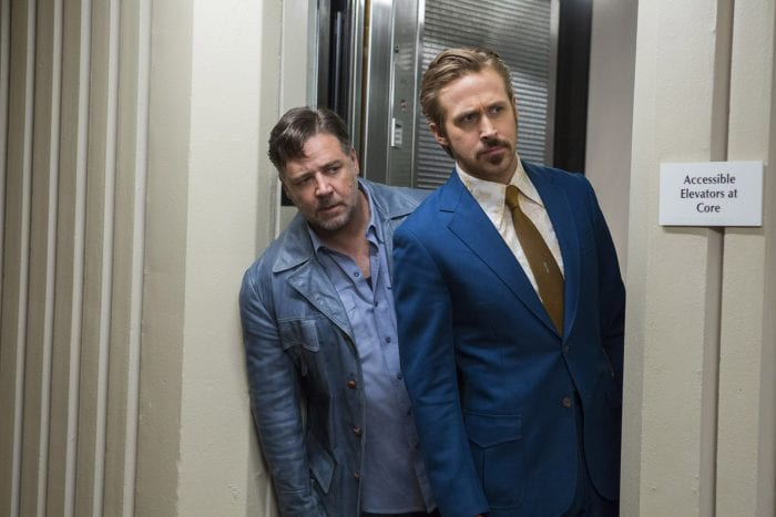 Ryan Gosling as March and Russell Crowe as Healy in Shane Black's The Nice Guys