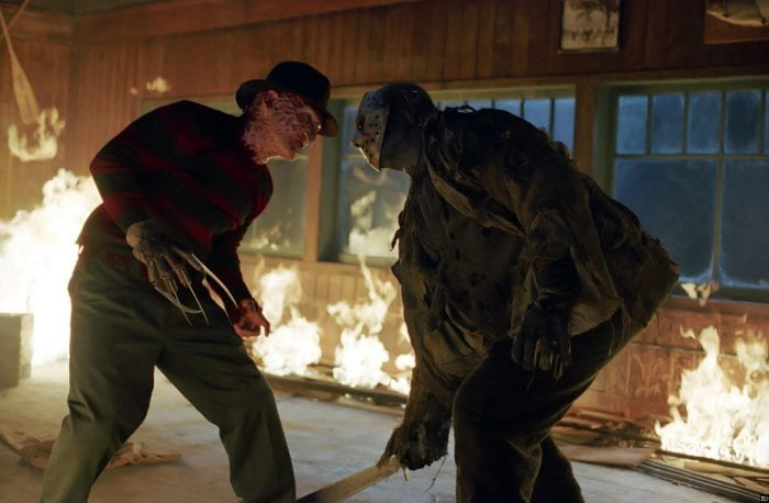 Freddy Vs Jason face off in a burning room