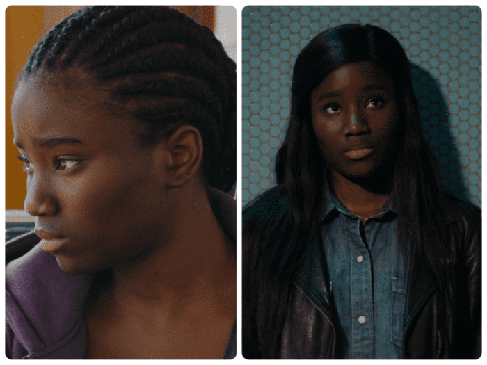 Two stills showing Mariame, the lead character from Girlhood
