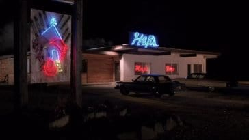 Neon lighting on the exterior of Hap's dinner in Deer Meadow