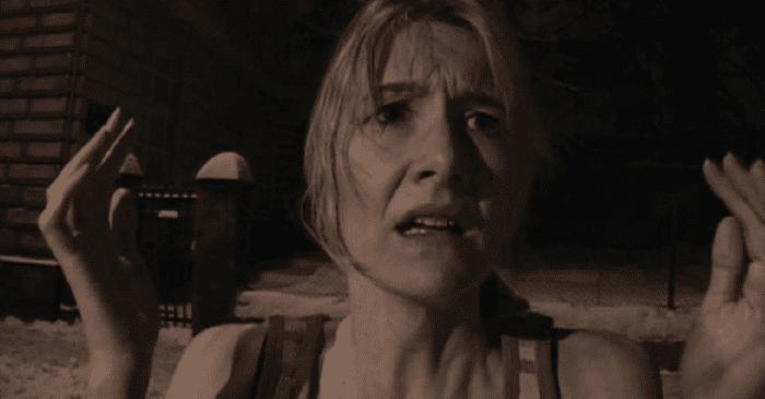 Laura Dern in Inland Empire. She looks confused, is in sepia tone, and standing in the snow.