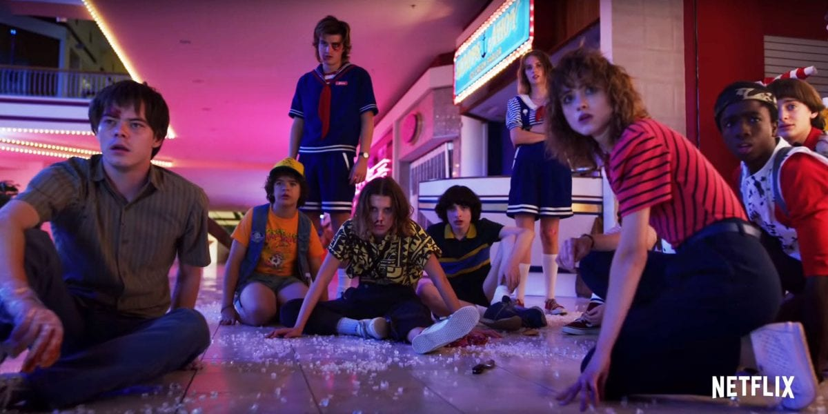 The young cast of Stranger Things in Starcourt Mall