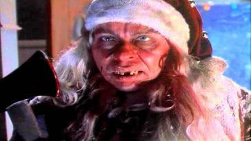 Larry Drake terrified as a serial killer Santa in Tales From The Crypt's And All Through The House.