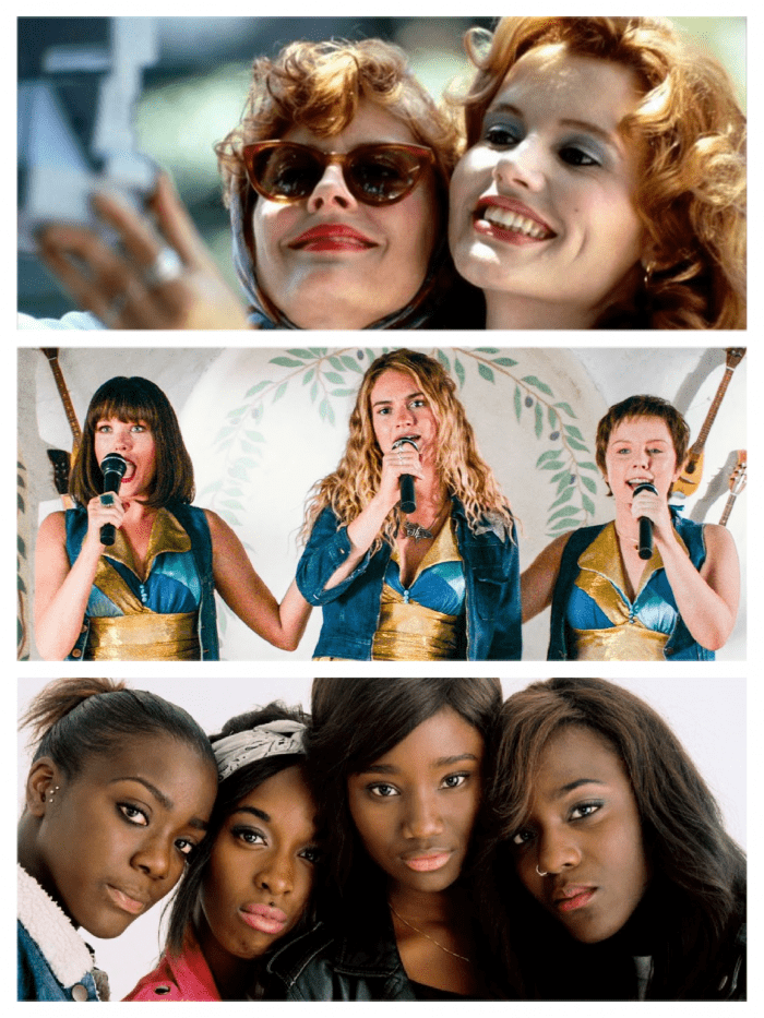 From top to bottom: Thelma and Louise, Mamma Mia, and Girlhood